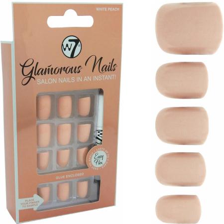 Kit 24 Unghii False W7 Glamorous Nails, White Peach, cu adeziv inclus si pila de unghii