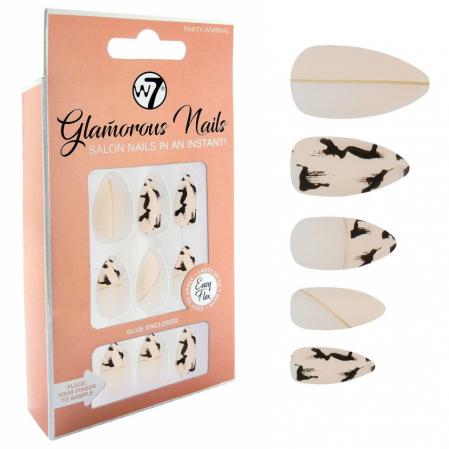 Kit 24 Unghii False W7 Glamorous Nails, Party Animal, cu adeziv inclus si pila de unghii