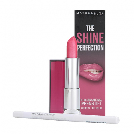 Kit Buze Maybelline The Shine Perfection Color Sensational: Ruj 148 Summer Pink si Creion de Buze Transparent 120