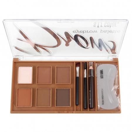 Kit Complet pentru Sprancene S.F.R Color Eyebrow Palette cu Ceara Fixare, Fard, Creion, Sabloane si Pensule Aplicare, A