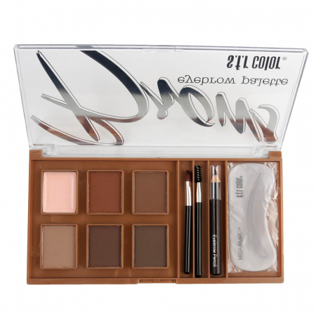 Kit Complet pentru Sprancene S.F.R Color Eyebrow Palette cu Ceara Fixare, Fard, Creion, Sabloane si Pensule Aplicare, B