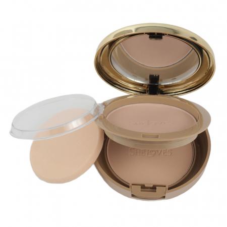 Kit cu 2 Pudre compacte, Rezistente la Transfer, efect mat, She Loves Best Face Powder, 02
