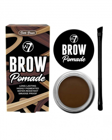 Kit cu Gel pentru Sprancene si Pensula dubla, W7 Brow Pomade, Dark Brown, 4.25 g