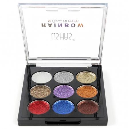 Paleta Sclipici cu 9 Glittere Multifunctionale USHAS Rainbow Glitter, 011