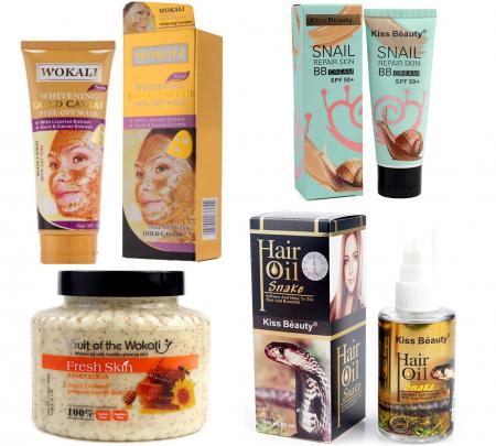 Kit Tratament 4 Produse cu Masca de fata cu Caviar, Particule de Aur 24K, BB Cream cu extract de Melc, Scrub pentru ten si corp cu Miere de Albine si  Ulei Regenerant pentru par cu Venin de Sarpe