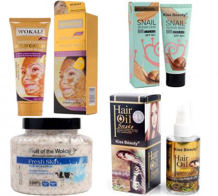 Kit Tratament 4 Produse cu Masca de fata cu Caviar, Particule de Aur 24K, BB Cream cu extract de Melc, Scrub pentru ten si corp cu Lapte si Ulei Regenerant pentru par cu Venin de Sarpe