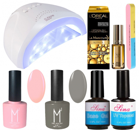 Kit Unghii cu Lampa Profesionala UV LED SUNone 48 W si 6 Produse Premium pentru Manichiura Semipermanenta, Pinky Grey