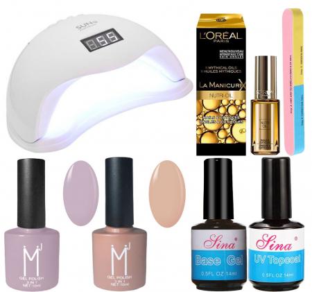 Kit Unghii cu Lampa Profesionala UV LED SUN5 si 6 Produse Premium pentru Manichiura Semipermanenta, Lilac & Nude