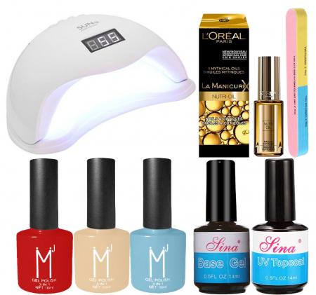 Kit Unghii cu Lampa Profesionala UV LED SUN5 si 7 Produse Premium pentru Manichiura Semipermanenta, Luxury