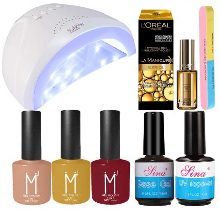 Kit Unghii cu Lampa Profesionala UV LED SUNone 48 W si 7 Produse Premium pentru Manichiura Semipermanenta, Autumn Mist