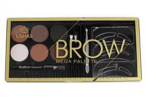 Kit Complet pentru Sprancene Mega Palette Brow cu 6 Pudre pentru Definire
