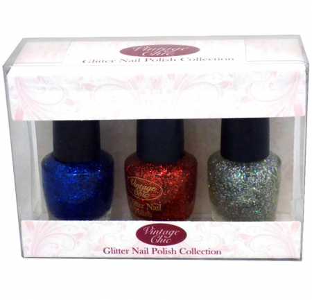 Set 3 Lacuri de unghii cu sclipici, ROYAL Vintage Chic Glitter Nail Polish Collection, 3 x 15 ml
