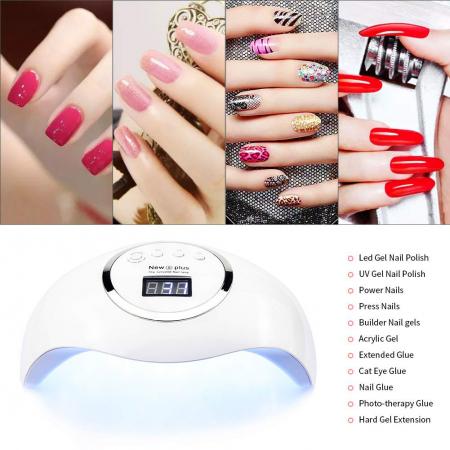 Lampa profesionala unghii UV LED Smart 2.0 NEW5plus, 72 W, Activare prin senzori,Uscare 10s-99s, pentru uscat oja semipermanenta sau gel UV10