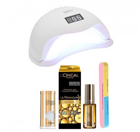 Set Lampa profesionala unghii UV LED SUN5, 48 W cu 2 Produse L'Oreal Paris: Dispozitiv Glamour, Tratament cuticule si  Pila 7 fete