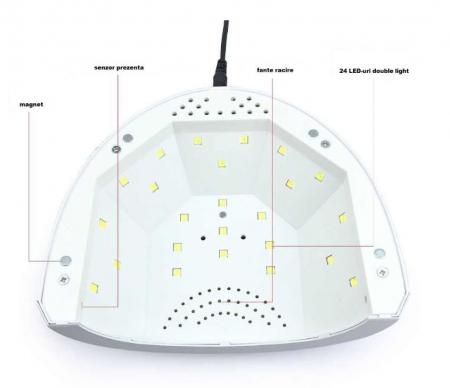 Lampa unghii UV LED SUNone 48 W, Hybrid, Double Light Led pentru uscat oja semipermanenta sau gel UV2