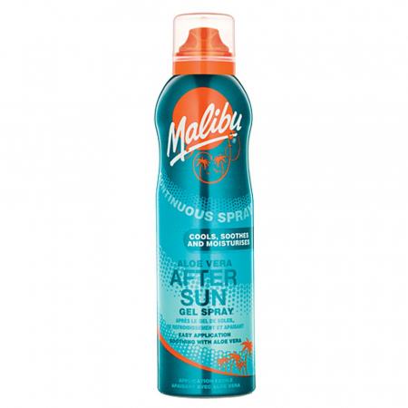 Spray After Sun MALIBU Continuous Gel Spray cu Aloe Vera, 175 ml