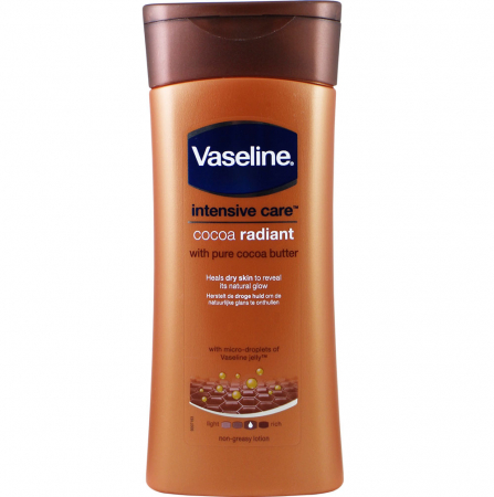 Lotiune de corp pentru piele uscata cu Unt de Cacao pur Vaseline Intensive Care Cocoa Radiant, 400 ml