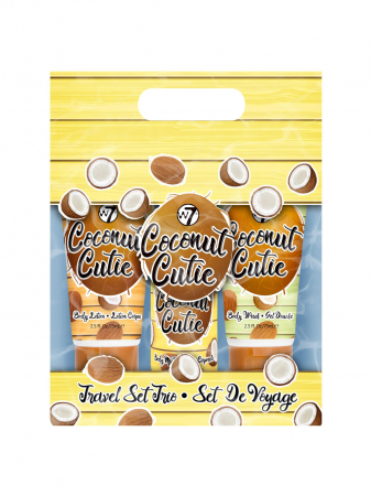 Set cu Lotiune de corp, Spray de corp si Gel de dus cu COCOS, W7 Travel Set Trio Coconut Cutie, 75 ml x 90 ml x 75 ml