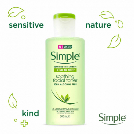 Lotiune tonica pentru ten sensibil, Simple Soothing Facial Toner, fara alcool, 200 ml1