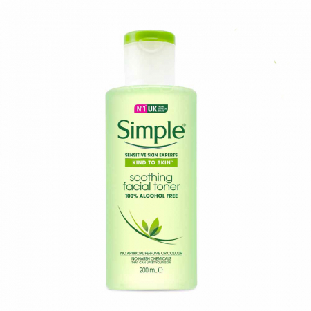 Lotiune tonica pentru ten sensibil, Simple Soothing Facial Toner, fara alcool, 200 ml0