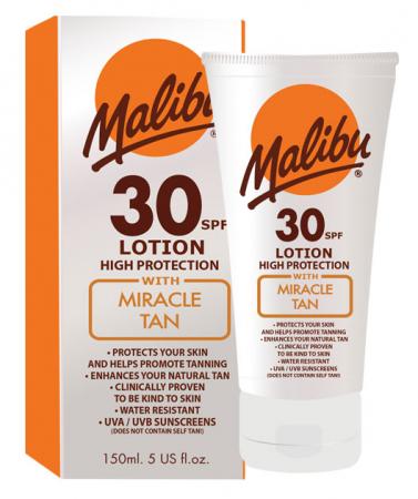 Lotiune Protectie Solara Acceleratoare MALIBU Miracle Tan, SPF 30, 150ml