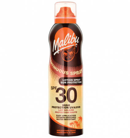 Lotiune Spray MALIBU Continuous Spray, Rezistenta la apa, UVA/UVB, SPF30, 175 ml