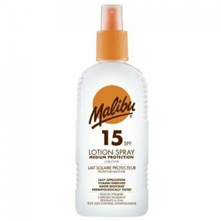 Lotiune Spray MALIBU cu Vitamina E si B5, Rezistenta la apa, UVA/UVB, SPF15, 200 ml
