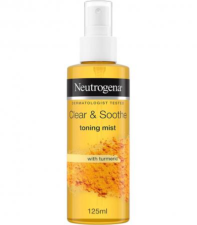 Lotiune Tonica Spray cu Turmeric pentru ten sensibil, patat si acneic NEUTROGENA Clear & Soothe Toning Mist, 125 ml