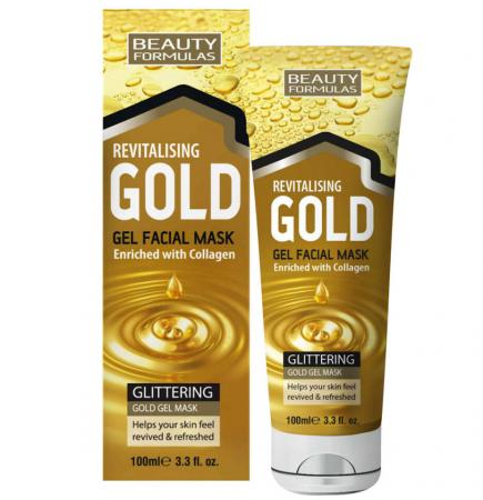 Masca de Fata cu Aur si Colagen BEAUTY FORMULAS, Anti-Rid, Anti-Sebum, 100 ml