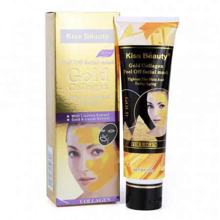 Masca de fata exfolianta cu Aur, Colagen si Extract de Caviar, Kiss Beauty Gold Mask, 120 g