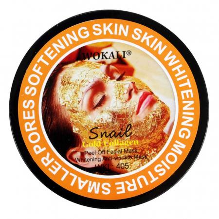 Masca de fata exfolianta cu Melc, Aur 24K si Colagen, Efect anti-rid, Wokali Snail Gold Collagen Whitening, 300 g1