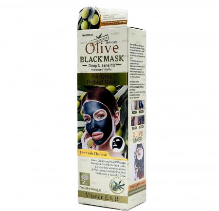 Masca de fata cu Carbune Activ, Masline si Vitamina E & B, Efect Intinerire, Fruit of the Wokali Olive BLACK Mask, 130 ml1