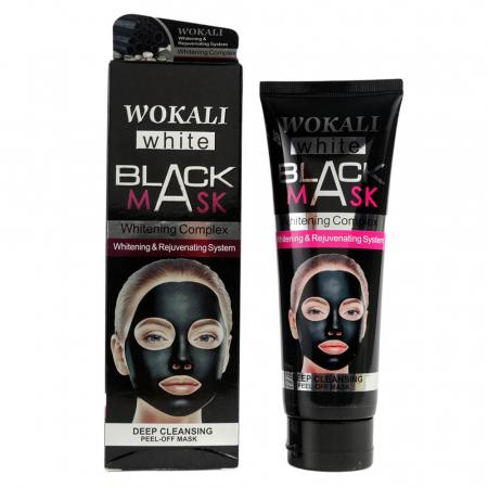 Masca neagra de fata anti-rid cu Argila Minerala, Vitamina A & E, Efect detoxifiant si de intinerire, WOKALI BLACK Mask, 130 ml
