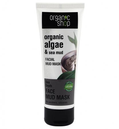 Masca de fata organica cu namol marin si extract de alge pentru micsorarea porilor Organic Shop Mud Mask Sea Depth, 75 ml