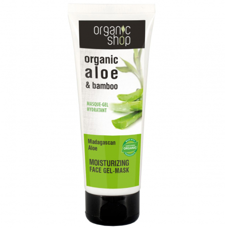 Masca de fata organica, hidratanta, cu aloe si bambus pentru calmarea tenului sensibil Organic Shop Madagaskan Aloe, 75 ml