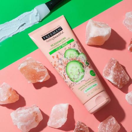 Masca detox cu efect de intinerire FREEMAN Rejuvenating Cucumber + Pink Salt Clay Mask, 175 ml6