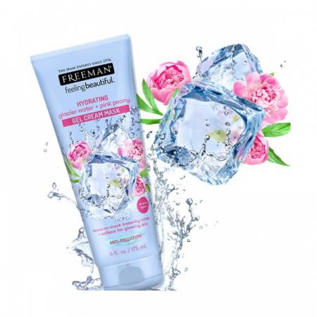 Masca exfolianta hidratanta cu Apa Glaciara si Bujor Roz FREEMAN Gel Cream Mask, efect calmant, 175 ml1