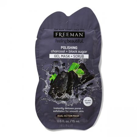 Masca exfolianta cu carbune si zahar negru FREEMAN Polishing Charcoal + Black Sugar Gel Mask,15 ml