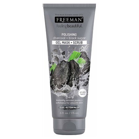 Masca exfolianta cu carbune si zahar negru FREEMAN Polishing Charcoal + Black Sugar Gel Mask, 175 ml