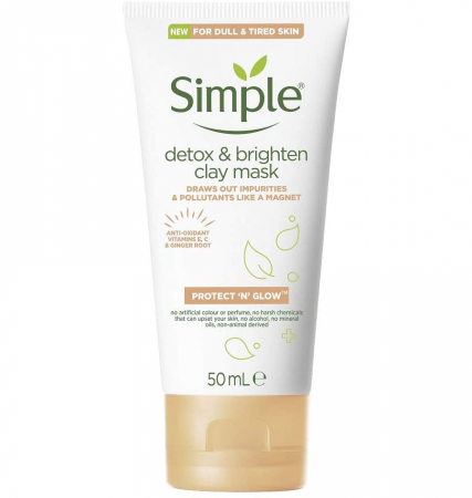 Masca faciala cu argila naturala, ghimbir organic si Vitamina C, Simple DETOX & Brighten Clay Mask, 50 ml