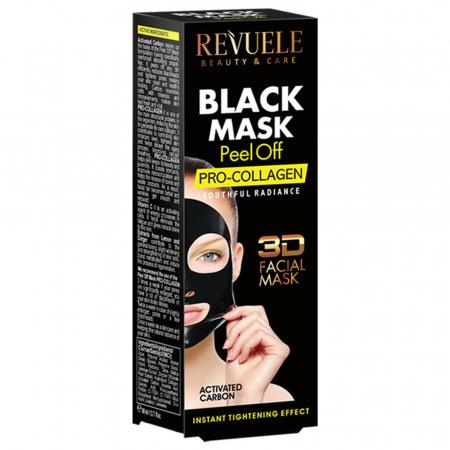 Masca neagra 3D cu carbune activ, vitamina C si colagen REVUELE Pro-Collagen, Youthful Radiance, Peel Off, 80 ml1