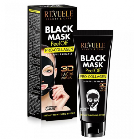 Masca neagra 3D cu carbune activ, vitamina C si colagen REVUELE Pro-Collagen, Youthful Radiance, Peel Off, 80 ml