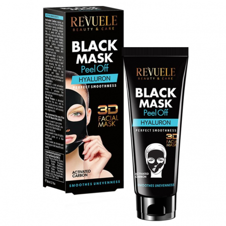 Masca neagra 3D cu carbune activ si acid hialuronic REVUELE Hyaluron, Perfect Smoothness, Peel Off, 80 ml