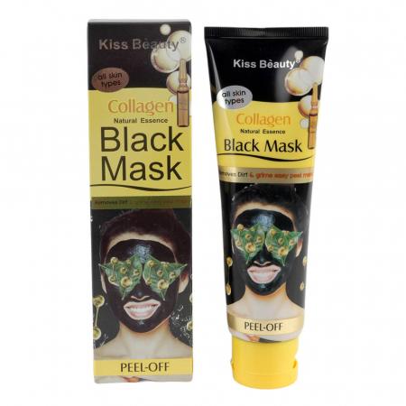 Masca neagra de fata cu esenta naturala de Colagen, Efect detoxifiant si de intinerire, Kiss Beauty Black Mask, 120 ml