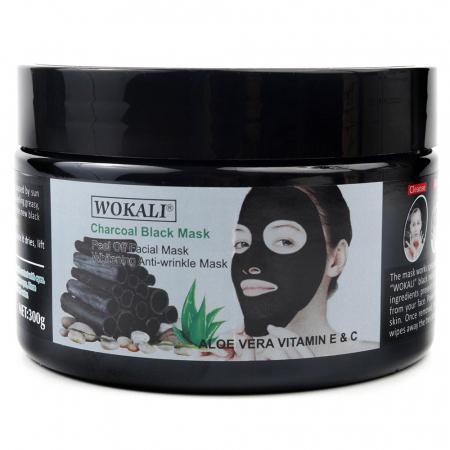 Masca neagra pentru indepartat punctele negre, punctele de grasime, efect anti-rid, Wokali cu carbune activ, 300 g