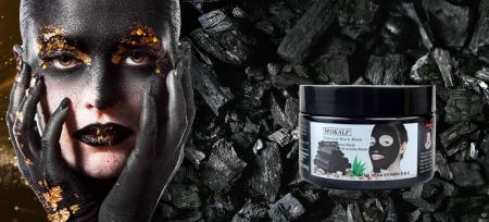 Masca neagra pentru indepartat punctele negre, punctele de grasime, efect anti-rid, Wokali cu carbune activ, 300 g6