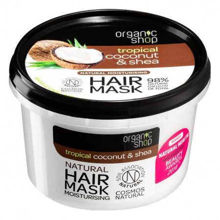 Masca pentru par cu Cocos si Unt de Shea, Organic Shop Hair Mask, Ingrediente 98% Naturale, 250 ml