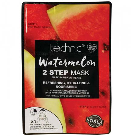 Masca cu pepene, Vitamina E & B5, TECHNIC Watermelon, 2 Pasi, 1.5 g x 23 g