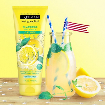 Masca pentru tenul gras FREEMAN Oil Absorbing Mint + Lemon Clay Mask, 175 ml2