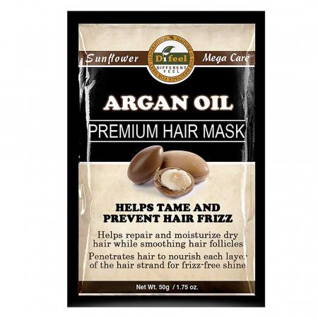 Masca premium pentru par Difeel din Ulei de Argan pentru regenerarea si hidratarea firului de par, 50 g